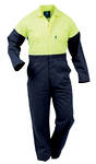DOPCO Day Only Safety Overall Navy/Fluro Yellow Sizes 4-16